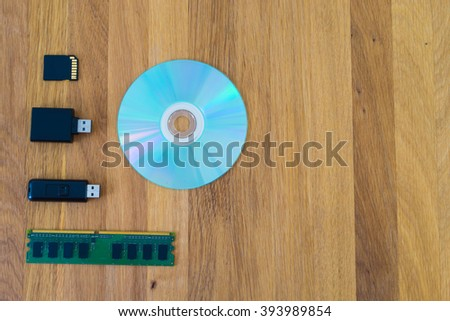 memory disk technology on wooden floor , memory technology concept - stock photo