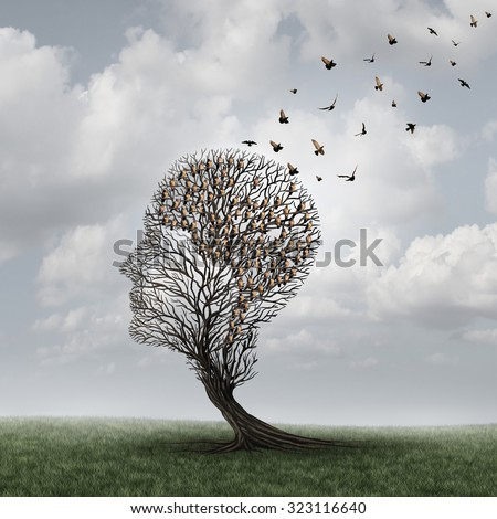 Memory loss concept and Alzheimer patient surreal symbol as a medical mental health care concept with an empty head shaped  tree and a group of birds shaped as a brain for dementia. - stock photo