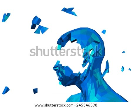 Memory problems concept with damaged shattered 3d geometrical person face. - stock photo