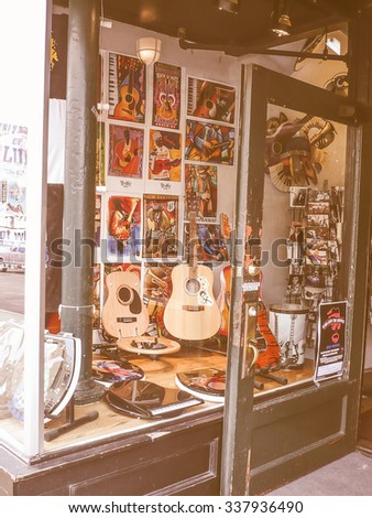 MEMPHIS, USA - OCTOBER 19, 2009: View of the city of Memphis in Tennessee known as the city of Blues music vintage look
