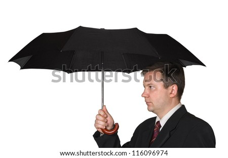 Men and umbrella isolated on white background - stock photo
