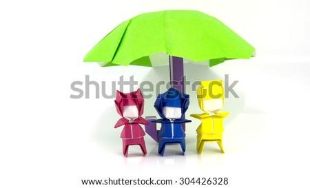 men and umbrella origami - stock photo