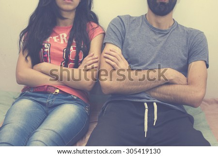 Men and women are offended. - stock photo