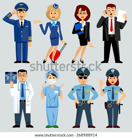 Men and women of different work professions and occupations: airlines, medicine, business, police. Contain the Clipping Path - stock photo