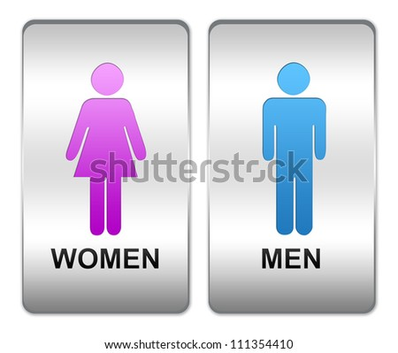 men and women restroom or toilet sign on square silver metallic plate isolate on white background
