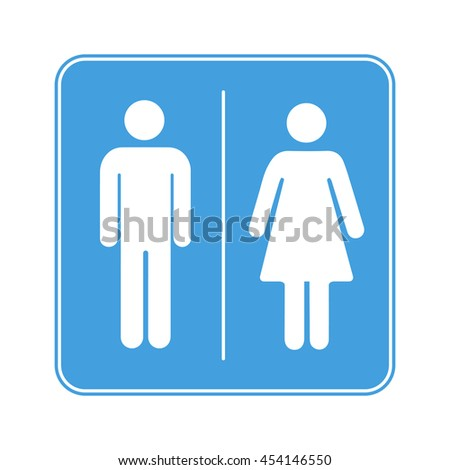 Men and women toilet WC sign isolated on white