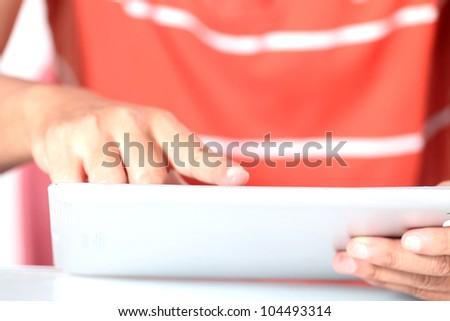 Men are using digital tablet - stock photo