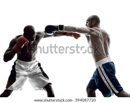 men boxers boxing isolated silhouette - stock photo