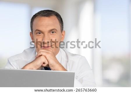 Men, Business, Computer. - stock photo