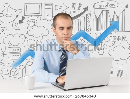 Men. Businessman senior working interior modern office - stock photo