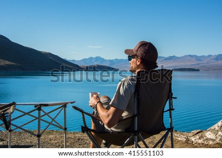 Rv camping stock images royalty free images vectors for Lake tekapo motor camp