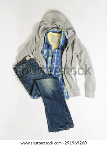 men casual clothes in pan isolated - stock photo