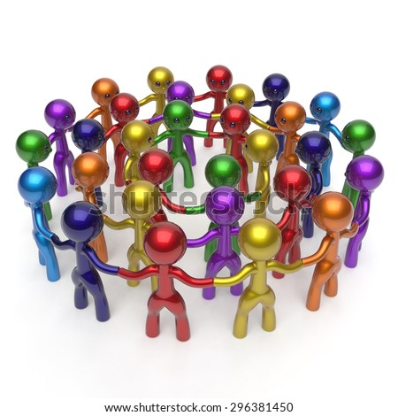 Men characters large circle crowd social network worldwide group people teamwork friendship individuality team different cartoon friends corporate human unity icon concept colorful. 3d render isolated - stock photo