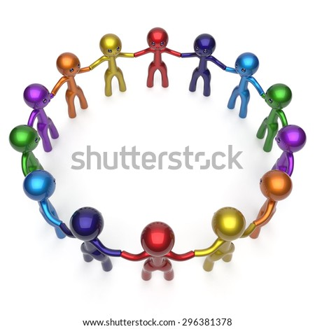Men circle characters together social network worldwide internet large group stylized people teamwork friendship individuality team different cartoon friends unity human resources concept 3d render - stock photo