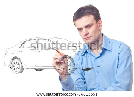 Men drawing a car isolated on white background - stock photo