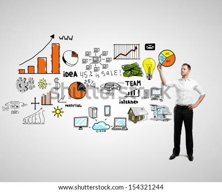 men drawing big global concept - stock photo