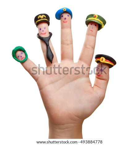 Men drawn on the fingers with clay accessories military occupations of Russia. The choice of future profession.