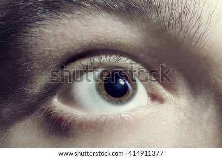 Men eye with red blood vessels closeup