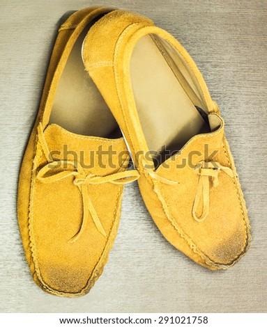 Men fashion. Men accessories. Brown elegant Men shoes - stock photo