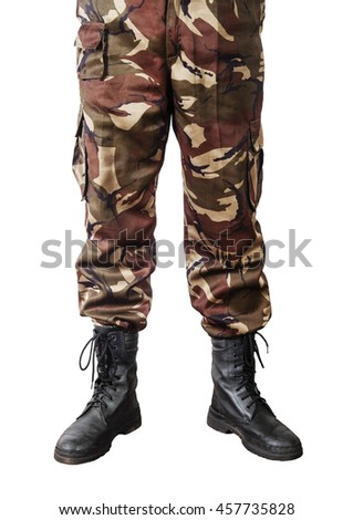 Men feet in camouflage pants and army boots