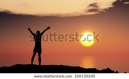 men greeting sun. Stands on hill, ocean and yellow sunset