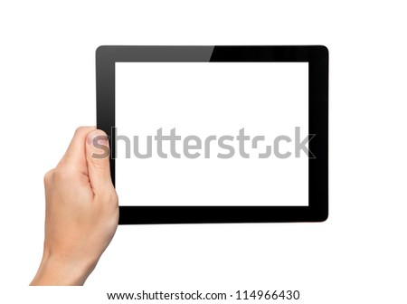 Men hand hold a tablet touch pad computer gadget with isolated screen - stock photo