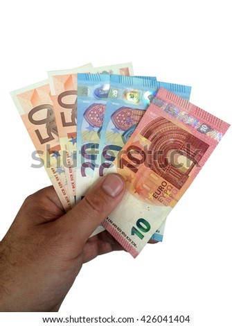 men hand holding euro bills - isolated on white