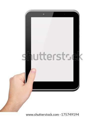 Men hand holding tablet PC on white background - stock photo