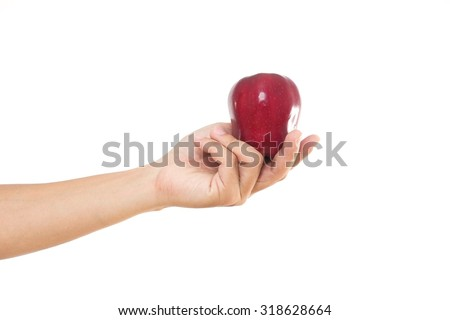 Men hand holding the red apple.
