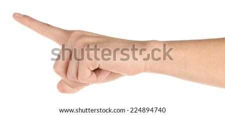 Men hand isolated on white - stock photo