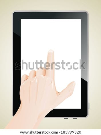Men hand point on blank tablet pc. - stock photo
