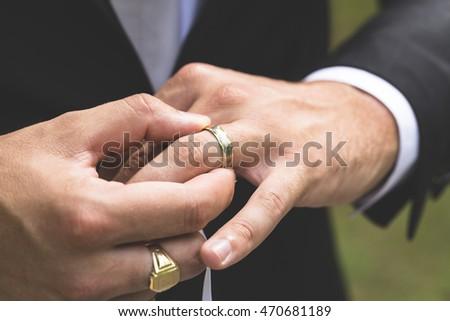 Men Hand Take Wedding Ring Stock Photo Royalty Free 470681189