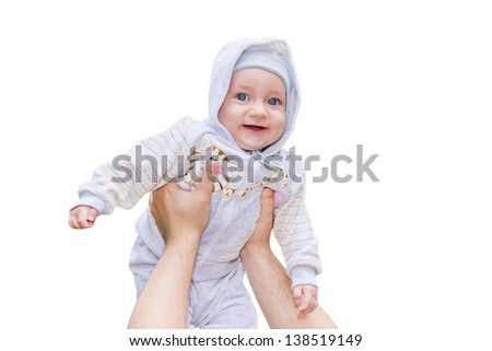 Men hands are raising a smiling child up high isolated on white background