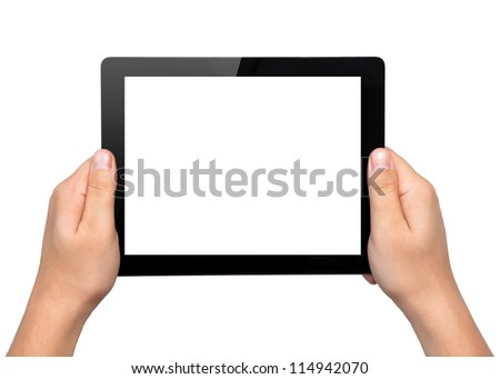 Men hands hold a tablet touch pad computer gadget with isolated screen - stock photo