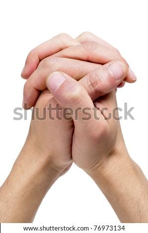 men hands together symbolizing prayer - stock photo