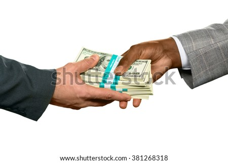 Men holding huge money. Repay old debts. Significant percent. Good month for a salesman. - stock photo