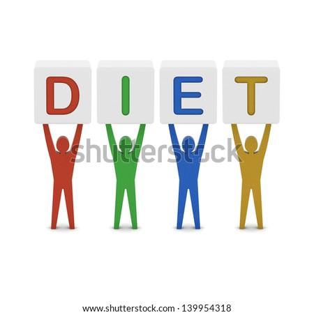 Men holding the word diet. Concept 3D illustration. - stock photo