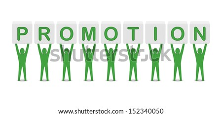 Men holding the word PROMOTION. Concept 3D illustration. - stock photo