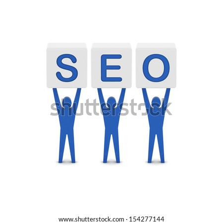 Men holding the word SEO. Concept 3D illustration. - stock photo