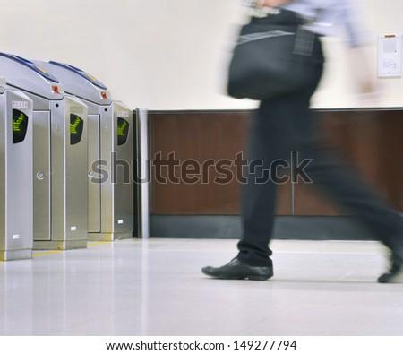 Men hurry  - stock photo