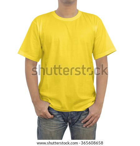 Men in a blue jeans and yellow T-shirt on white background - stock photo