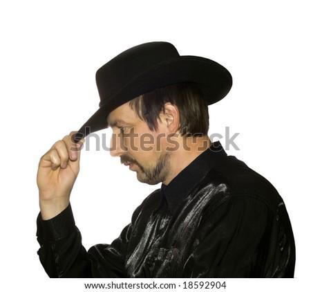 Men in black hat over white - stock photo
