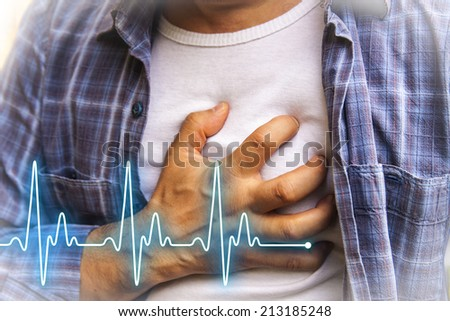 Men in blue shirt having chest pain - heart attack - heartbeat line - stock photo