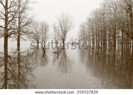Men in boat during flood; scenic natural disaster - stock photo