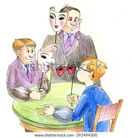 Men in business suits. Meeting. Masks. Managers. Accountants. Cheating. Hiding the truth. Drawn with colored pencils - stock photo