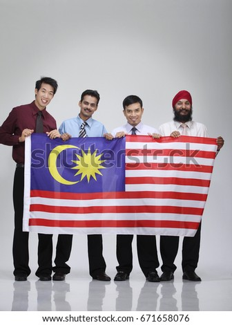 Men Different Culture Holding Malaysia Flag Stock Photo Royalty Free 671658076  Shutterstock