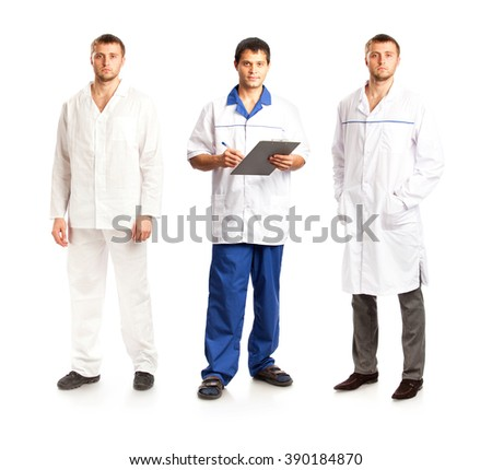 Men in medical overalls isolated on white background - stock photo