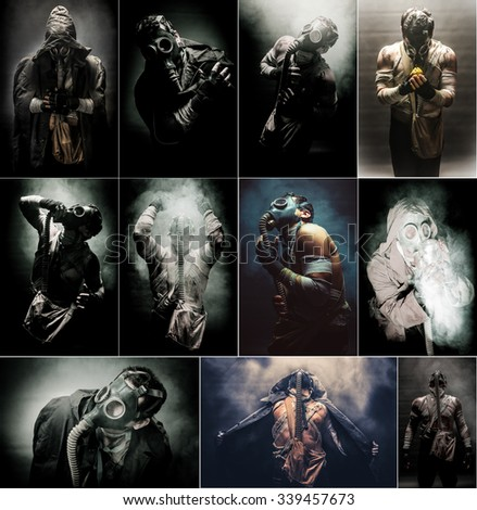 Men in the gas mask, on the black background surrounded by smoke, , survival soldier after apocalypse.