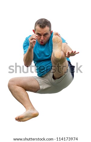 Men  jumping on trampoline on white background