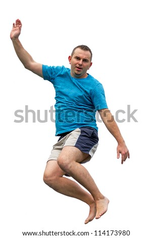 Men  jumping on trampoline on white background - stock photo